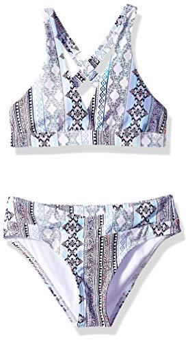 Next Big Girls' Surplice Halter Bikini Top & Bikini Bottom Swimsuit Set, Stargazing Purple, 8 - Surplice Bikini Top