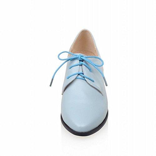 Latasa Damesmode Punthoge, Lage Hak Veter Oxford Schoenen Lichtblauw