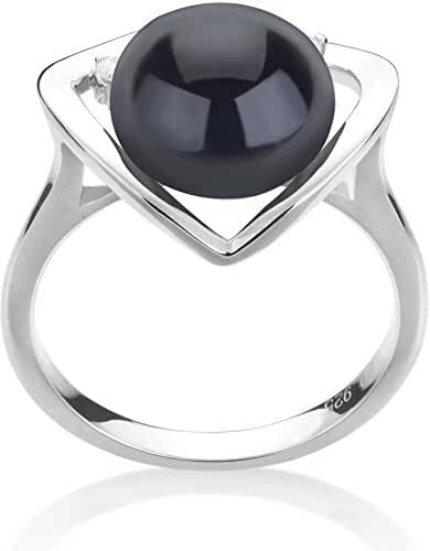 PearlsOnly - Katie Heart Black 9-10mm Freshwater 925 Sterling Silver Cultured Pearl Ring