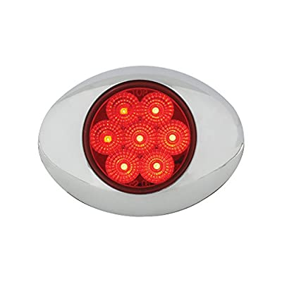 Grand General 76192 Red Small Low Profile Spyder 7-LED Marker/Clearance Sealed Light with Chrome Bezel and Red Lens: Automotive