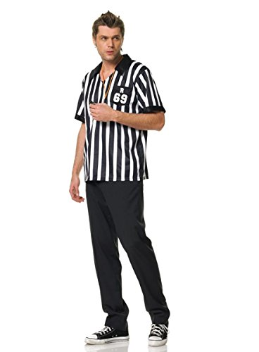 UHC Men's Referee Shirt & Whistle Funny Theme Adult Uniform Fancy Costume, XL (48-52) (Referee Adult Black Boots)