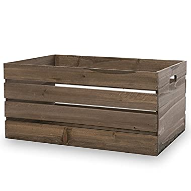 The Lucky Clover Trading Antique Wood Crate Basket with Handles, 17 , Brown