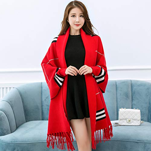 Bright red JINGB Home Shawl Scarf Dualuse Female Long Shawl Thick Warm Cloak Cloak Coat Wild Autumn and Winter Stripes (color   pink red)