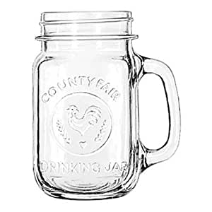 Libbey County Fair 16.5-Ounce Drinking Jar with Handle, Set of 12