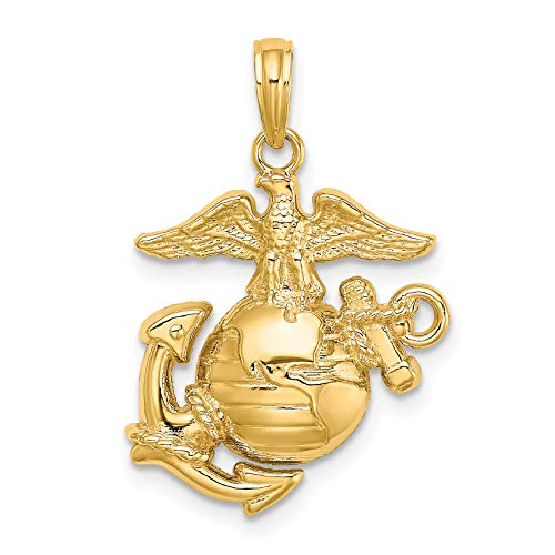 14k Yellow Gold United States Marine Corps Insignia Pendant 19x17mm ()