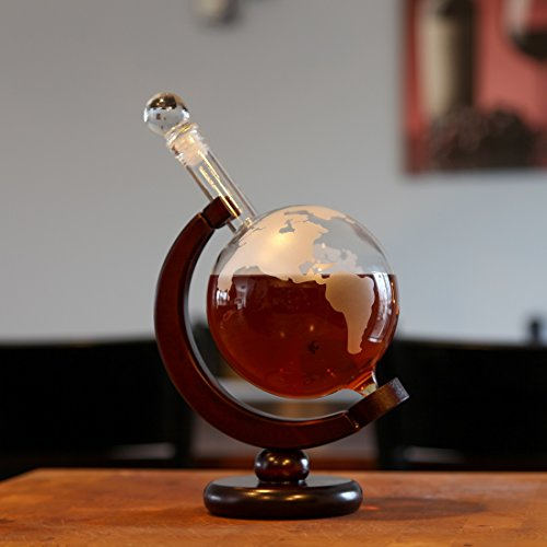 Lily's Home World Globe Whiskey Decanter with Dark Finished Wood Stand and Bar Funnel, Let Your Favorite Vintages Breathe with this Beautifully Stylish and Functional Piece (850 ml) by Lilyshome (Image #1)