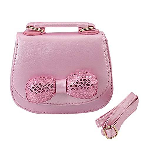 Boutique Purse (Goodbag Boutique Girls Sequins Bowknot Shoulder Handbags Princess Mini Messenger Bag PU Leather Shoulder Bag Fashion Crossbody Bag Purse(Pink))