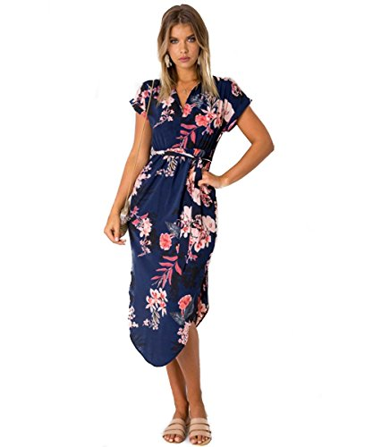 Poptem Womens Casual Midi Dresses Short Sleeve Long Skirt Tunic Split Summer Floral Pattern Belted Dress(Navy XL)