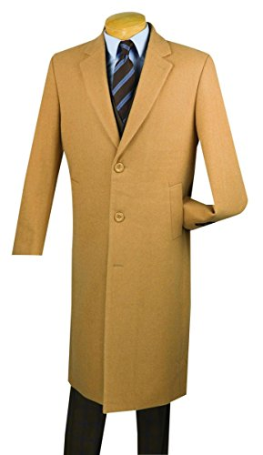 Vinci 3 Botton Single Breated Cashmere Wool Overcoat CL48-1-Camel-40R