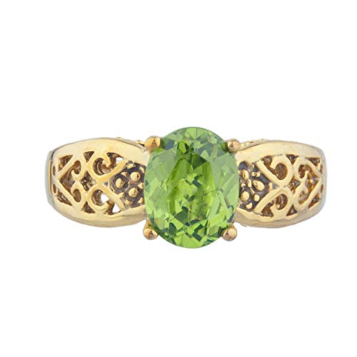 1.5 Ct Simulated Peridot Oval Design Ring 14Kt Yellow Gold Rose Gold Silver ()