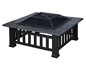Black Backyard Square Metal Fire Pit Garden Square Stove