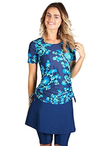 - Ella Mae Womens Modest Swimsuit with Short Sleeve Rash Guard Swim Shirt and Swim Skirt with Knee Length Leggings (S-XXXL)