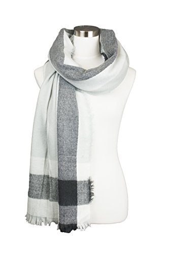 Womens Plaid Multi Line Color Contrast Design Soft Warm Fall Winter Oblong Scarf (Multi Weather Line)