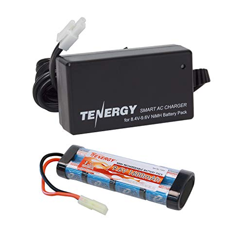 Tenergy Airsoft Battery High Capacity 9.6V 1600mAh NiMH Flat Battery Pack w/Mini Tamiya Connector for Airsoft Gun + 8.4V-9.6V NiMH Battery Charger w/ Mini Tamiya Connector and Standard Tamiya Adaptor