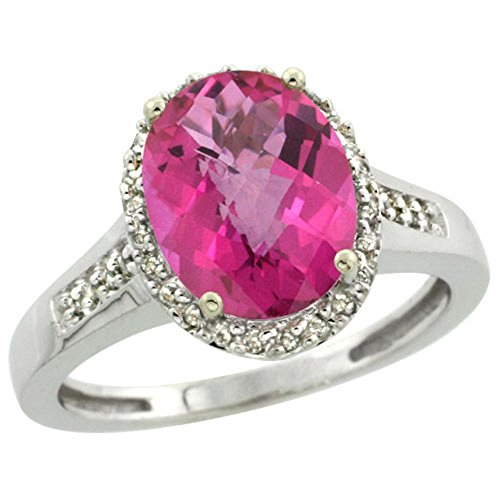 Sterling Silver Diamond Natural Oval Pink Topaz Ring