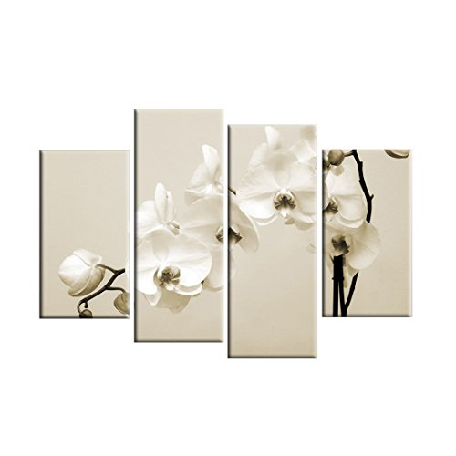 Grepova Art - Cream Beige White Sepia Orchids Contemporary 4 Panel Flowers Artwork 100% Hand-painted Framed Abstract Floral Oil Painting on Canvas Wall Art for Living Room Home (White Orchid Panel)