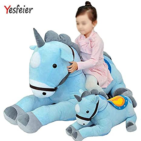 JEWH Giant Pink/Blue Unicorn Plush Toy - Plush Stuffed Animal Horse Unicorn Kids Birthday