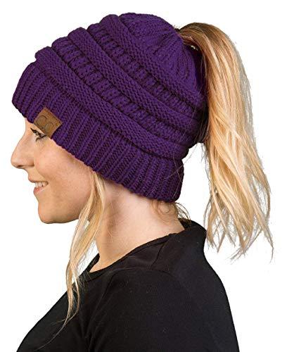Fashion Accessories Purple (BT-6020a-40 Messy Bun Womens Winter Knit Hat Beanie Tail - Purple)