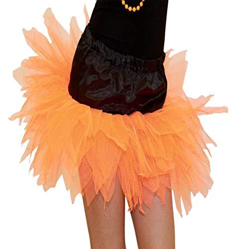 Islander Fashions Girls 6 Couches Ptale Orange Sorcire Noire Tutu Jupe Dames Halloween Party Jupe Une Taille Orange Black