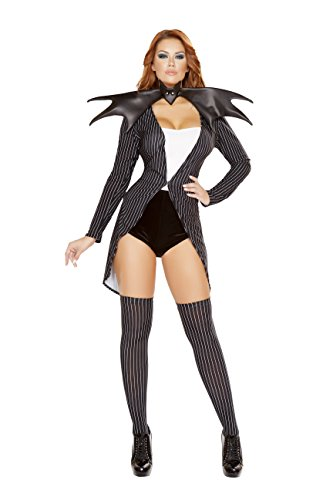 4 Piece Miss Skeleton Bat Queen Tux Coat & Romper w/ Accessories Party Costume