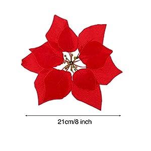 HMILYDYK 20PCS Xmas Tree Ornaments 8 INCH Red Poinsettia Flowers Festival Decor Artificial Flowers 2