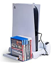 TwiHill Base de resfriamento de ventilador multifuncional é adequada para console de jogos PS5, PS5 identificador de carregamento duplo com suporte de armazenamento de cassete