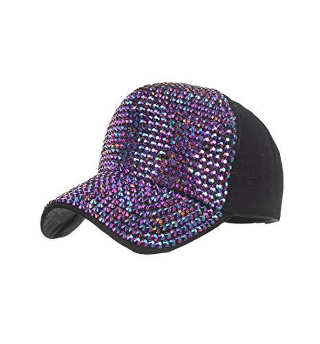Pausseo Women's Baseball Caps, Fashion Adjustable Cotton Cap Star Rhinestone Cap Sun Hat (Rhinestone Custom Hats)