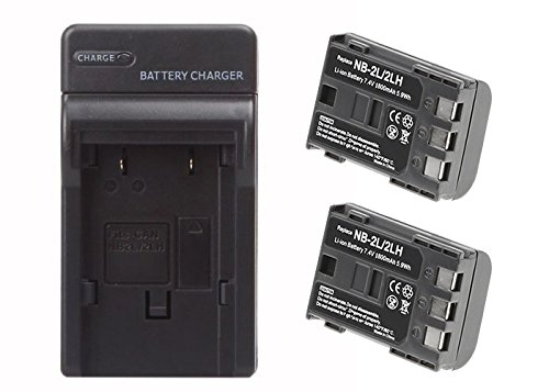 2 Pack of Canon CB-2LW Battery & Charger Set - 1800mAh Replacement Canon NB-2LH Battery & Charger for Camera & Video Camera