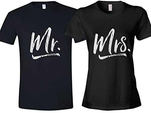 Mrs. & Mr. Tshirt, Gift for Newlyweds, Ladies X-Large & Mens Medium