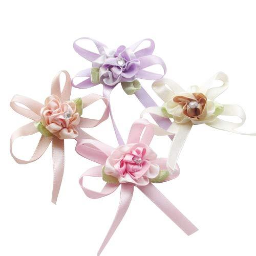 Chenkou Craft 20pcs Satin Ribbon Flowers Bow w/Leaf Rhinestone Wedding Sewing Appliques Craft DIY (Ribbon Bow(A0269))