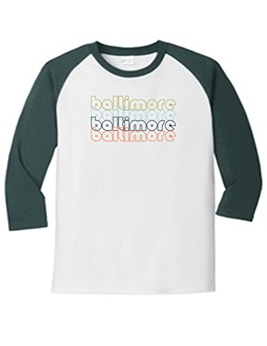 Baltimore Maryland Retro 5700 Raglan T Shirt Slogan Humorous White Dark Green XXX-Large