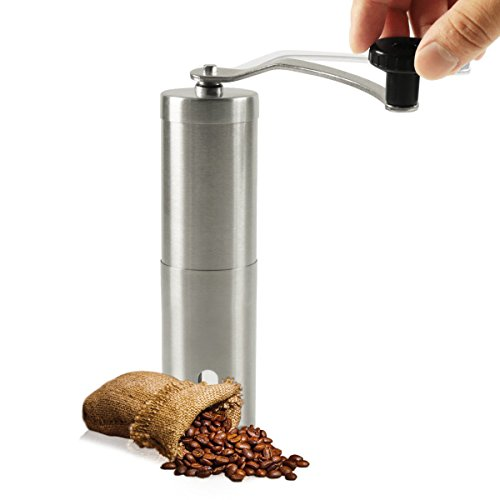 Manual Coffee Grinder, Brushed Stainless Steel Hand Crank Mill - Perfect for Home, Traveling, Camping