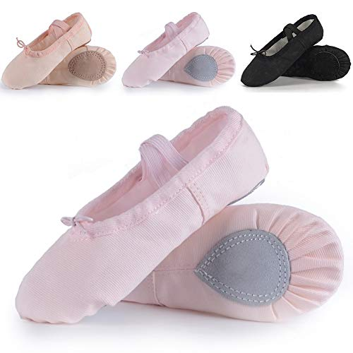 Ruqiji Ballet Shoes for Girls/Toddlers/Kids,Light Pink Canvas Ballet Shoes/Leather Ballet Slippers/Dance Shoes -