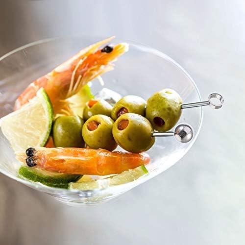 ANDERK 40 Stück Edelstahl-Cocktailspieße, Cocktail-Sticks Obst-Sticks für Fingerfood, kleine Snacks, Antipasti und Cocktails
