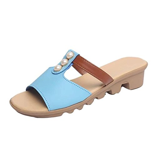 Blue Sandals Fashion Clearance shoes Beach Pearl Out Women Shoes Sky Solid Cut IEason Summer Slides Slippers aSZxUx4