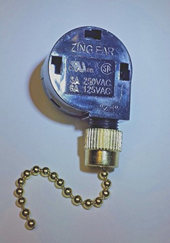 Ze-268S2 Zing Ear Pull Chain Ceiling Fan 3-Speed Switch brass - Of The Ear Parts Labeled