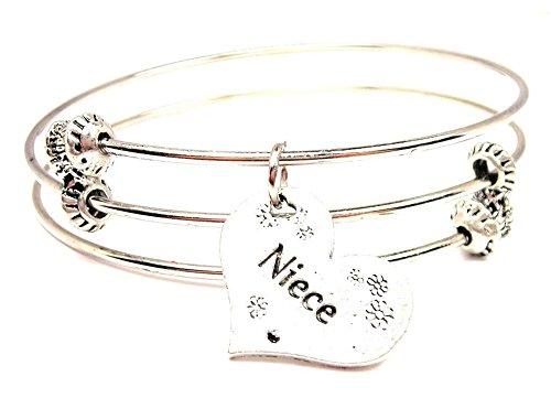 Triple Strand Heart Bracelet - Niece Heart Expandable Triple Wire Adjustable Bracelet Made in the USA