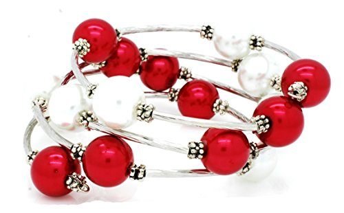 Violet Victoria & Fan Star Memory Wire Wrap Bracelet - Faux Pearl - Rhodium Plated - Red, Clear ()