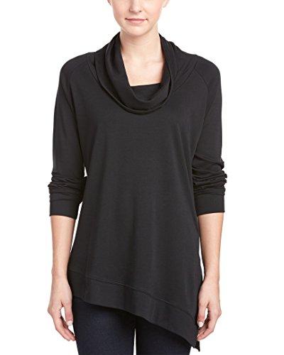 Joan Vass Women's Long Sleeve Cowl Neck Top, Black, 2