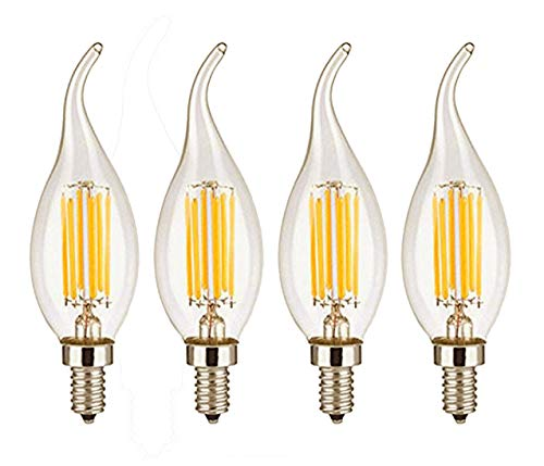 CTKcom Vintage LED Light Bulbs 4W Dimmable C35 Filament Candle Bulbs(4 Pack)- Antique Candelabra Light Bulb 40W Equivalent Lamp,Energy Saving Warm White 2700K,Flame Shape Bent Tip for Vintage Style