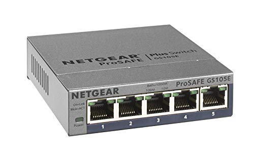 NETGEAR 5-Port Gigabit Ethernet Smart Managed Plus Switch (GS105Ev2) - Desktop, and ProSAFE Lifetime Protection