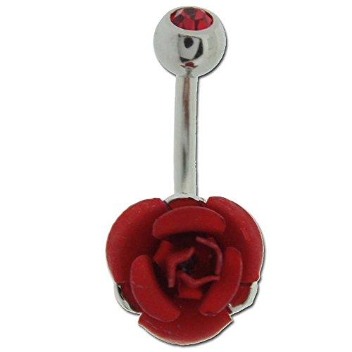 Piercing Nombril Rose Acier Rouge