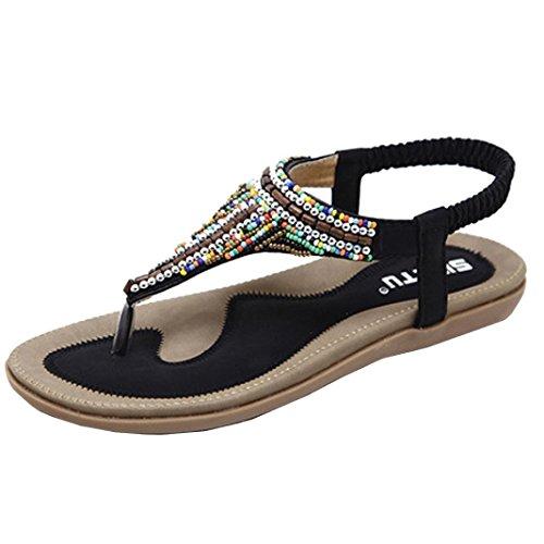 女性のフラットサンダル、ゴムレディースビーチフラットシューズビーズボヘミアpeep-toeラインストーンFlip Flops Slipper