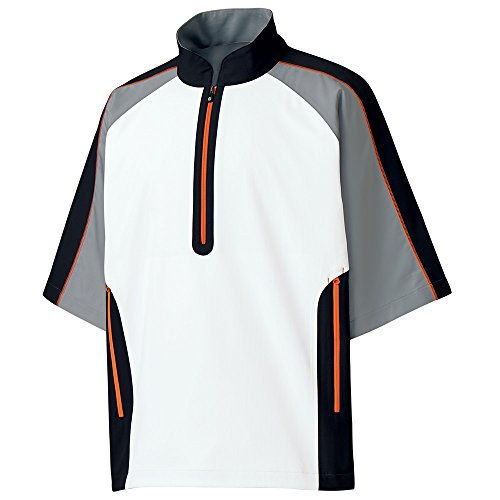 FootJoy Short Sleeve Sport Windshirt White/Steel Grey/Black, Large