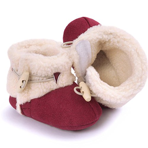Babyschuhe Jamicy®Winter Warm Cute Baby Plüsch Schnee Stiefel Soft Sole Anti-Rutsch Prewalker Krippe Schuhe für Neugeborene Kinder Jungen Mädchen Rot