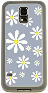Rikki KnightTM White Daisy Yellow Flowers on Grey Design Samsung? Galaxy S5 Case Cover (Clear Rubber with Bumper Protection) for Samsung Galaxy S5 i9600