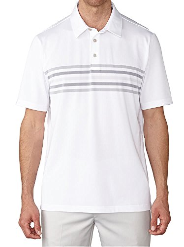 Ashworth Mens 2-Tone Chest Stripe Polo White L (Polos Chest Mens Stripe)