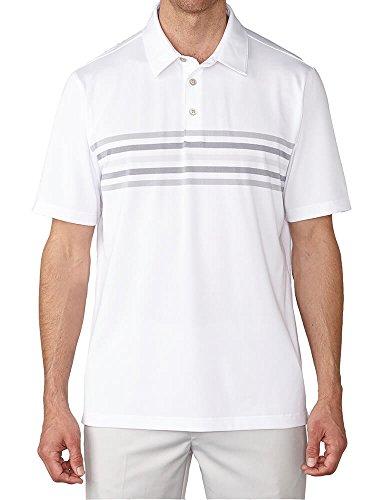 Ashworth Mens 2-Tone Chest Stripe Polo White L (Chest Polos Mens Stripe)