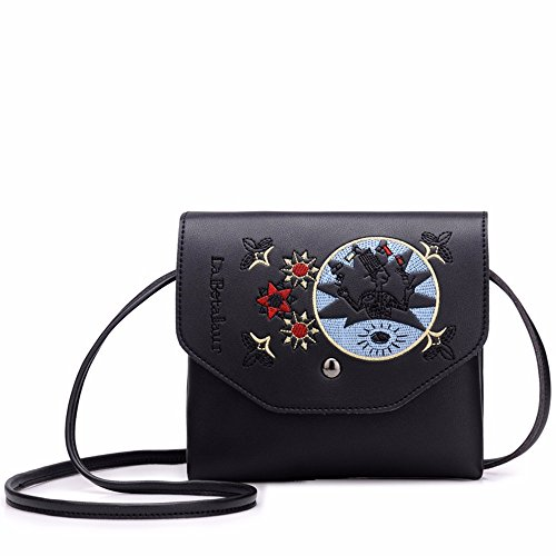 Capacity Small PU Black Body Leather Bags Casual MSZYZ Clutch Pockets Shoulder Shoulder Women's Large Wristlet Cross Many Vintage Soft with Shoulder n4xqZCHwI