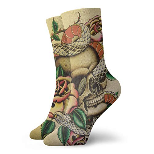 - WEEDKEYCAT Cobra and Skull Watercolor Adult Short Socks Cotton Cool Socks for Mens Womens Yoga Hiking Cycling Running Soccer Sports